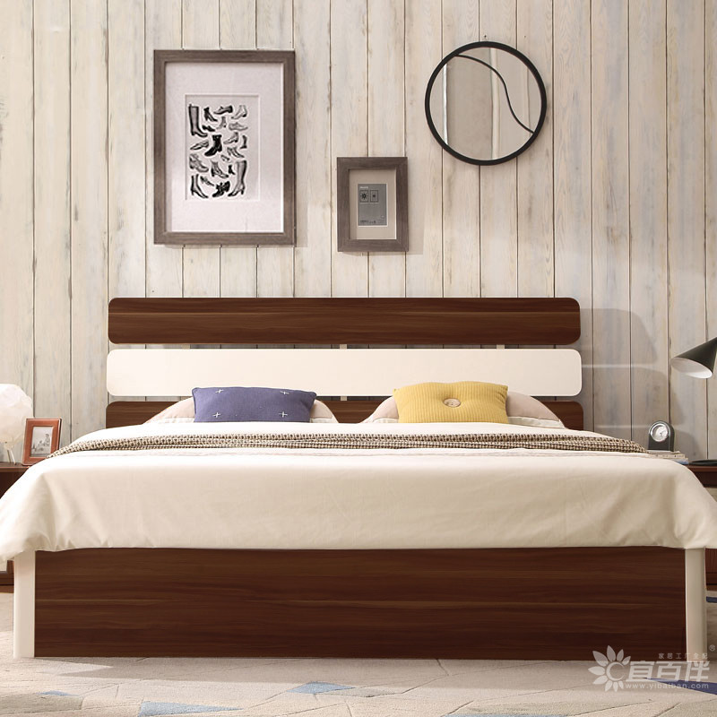 现代简约家具板式床主卧搭配效果图片实拍