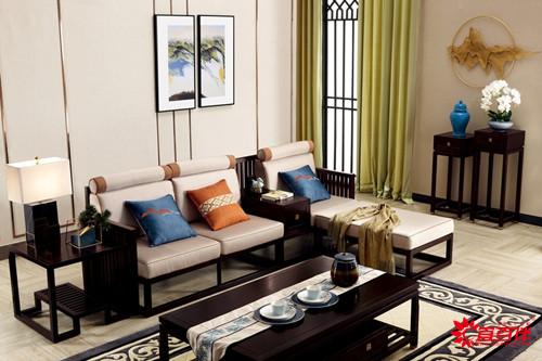 黑色新中式家具沙发