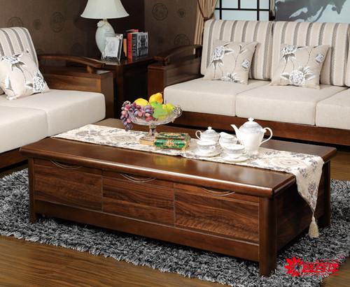 胡桃色新中式客厅家具